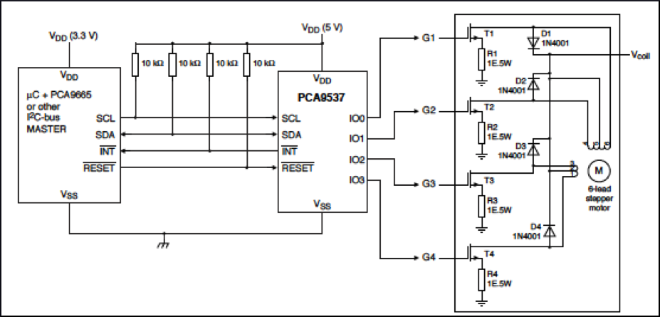 Steppernews: Driving a unipolar stepper motor with the NXP ... on bipolar stepper motor schematic, motor control circuit schematic, servo motor schematic, unipolar stepper driver schematic, stepper motor controller schematic,